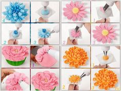 Piping flowers http://www.wilton.com/technique/Piping-a-Flower-on-a-Cupcake?cmp=pint2013=0127pipeflowersoncc