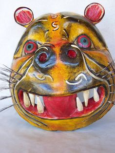 Fun Mexican, Mexico Folk Art Large Round - Jaguar Mask