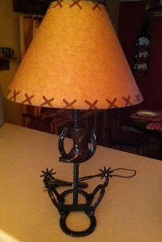 Rustic Table Lamp With Cowboy Boot On Horseshoe By RockinLDesign 7500