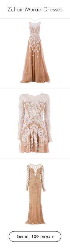 """Zuhair Murad Dresses"" by svellana ❤ liked on Polyvore featuring dresses, gowns, long dresses, vestidos, sheer dress, beige long dress, long embellished dress, sleeveless dress, long sheer dress and short dresses"