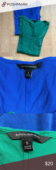 Banana Republic Lot of 2 Modal Short Sleeve Tops Banana Republic women's size small LOT OF 2 micro modal tops. One is a bright green Christmas color and one is a cobalt blue color. Shirts are super soft modal, drapey fit and are great under sweaters and blazers. From the Fall, 2016 Collection and are in excellent pre-owned condition with no flaws.   Fast shipping - same or next business day.   Measurements  Armpit to Armpit: 17 inches  Length: 25 inches Banana Republic Tops Tees - Short…