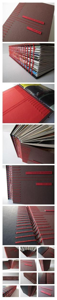 Tate Guide Collection on Behance – A handmade almanac of TATE gallery guides gathered over the years 2004-2010. It holds 14 brochures together using coptic stitch on spine with Japanese stab binding on hardcover by aisha