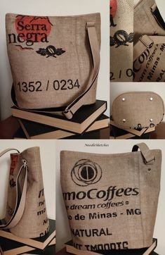 Handmade bucket bag, using jute coffee sack as the outer fabric, and a salmon-pink lining. Adjustable strap, two zip pockets in the lining and a slim magnetic closure. Both rustic and beautiful. Handmade Fabric Bags, Coffee Sacks, Slow Fashion, Bag Making, Jute, Bucket Bag, Salmon, Upcycle, Reusable Tote Bags