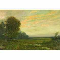 "Untitled (marsh scene at sunset,) Arthur Hoeber, oil on canvas laid down on Masonite, 20 1/8 by 30 1/4"", private collection."