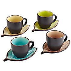 Leaf Teacup & Saucer - set of 4 is the perfect setup for enjoying tea or coffee with your favorite book or friends.