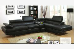 Black Leather Sectional Sofa Check more at http://casahoma.com/black-leather-sectional-sofa/24483