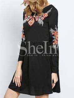 Black Long Sleeve Embroidered Embellishments Broderie Pleated Dress 20.99