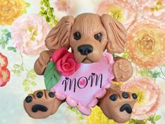 Golden Retriever Dog MOM Rose Heart Sculpture by sallysbitsofclay (Art & Collectibles, Sculpture, Figurines, handsculpted, figure, figurine, statue, handmade, polymer clay, mothers day, mom, dogs, heart, golden retrievers, mother's)