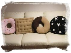 Kawaii Pillows ~what is the last one ? Food Pillows, Cute Pillows, Diy Pillows, Decorative Pillows, Throw Pillows, Candy Pillows, Pillow Ideas, Kids Crafts, Diy And Crafts