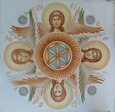 Cherubim or Seraphim. Byzantine Art, Byzantine Icons, Religious Icons, Religious Art, Angel Hierarchy, Seraph Angel, Angel Warrior, Archangel Michael, Angels And Demons