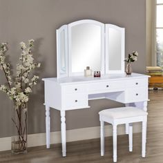 HomCom Deluxe White Makeup Vanity Table | Furniture | Aosom.ca
