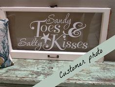 Beach Decor Decal wall Quote words Sandy Toes and Salty Kisses 36 X 19.5 with Starfish and Ampersand. $32.00, via Etsy.