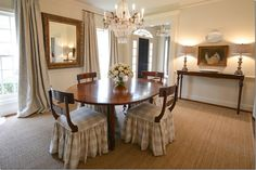 cote de texas webb design redesigning the double wide house dining room curtains signature fabric that was used at the windows in both the dining room and living room,subtle pattern in a gray linen from Vervaine