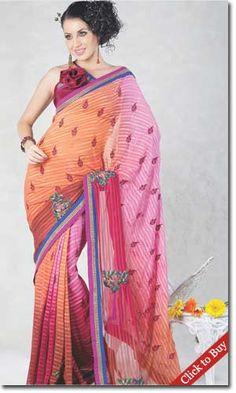 Indiaemporium-Fancy-Apricot-&-Deep-Pink-Embroidered-Saree