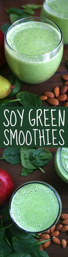 These Soy Green Smoothies are the ultimate power drink to start off your day. They're sweet, healthy, and ready in just 5 minutes! | strawmarysmith.com