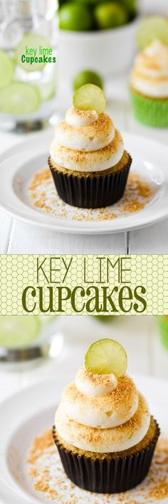 These Key Lime Cupcakes are the perfect tart and tangy combo. I love this Summer cupcake! Ingredients Cupcakes: 1 box o. Best Dessert Recipes, No Bake Desserts, Cupcake Recipes, Delicious Desserts, Cupcake Ideas, Awesome Desserts, Baking Desserts, Baking Recipes, Key Lime Cupcakes