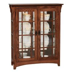 Small Mission Style Red Oak Wood Double Door Curio Cabinet with Mullions Wood furniture to showcase books, keepsakes and more. This Double Door Curio is built in Amish country in choice of wood and stain. #Amishfurniture #curiocabinet Amish Furniture, Wood Furniture, Red Oak Wood, Amish Country, Vintage Plates, Double Doors, Glass Shelves, Cabinet Doors, China Cabinet