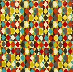 premium laminate diamond fabric yellow-red Robert Kaufman