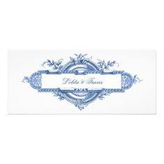 Victorian Plate Blue Wedding Invitations