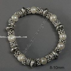 Zinc Alloy Pearl Bracelets, Cultured Freshwater Pearl, with rhinestone, 8-10mm, Sold Per 7.5 Inch Strand