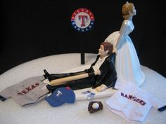 Texas Rangers BASEBALL Wedding Cake Topper Groom by finsnhorns sherriholbrook    Clcik to take a survey with and recieve a free $100 giftcard to starbucks!