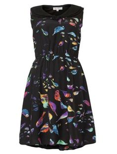 Black (Black) She Her Black Bird Print Skater Dress  9c7052b24d1