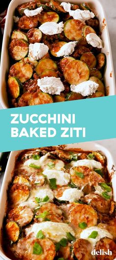 "Zucchini Baked ""Ziti"" Doesn't Involve Any PastaDelish - Keto recipes Veggie Dishes, Vegetable Recipes, Beef Recipes, Low Carb Recipes, Vegetarian Recipes, Cooking Recipes, Healthy Recipes, Recipies, Zucchini Dinner Recipes"