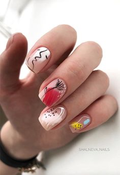 63 Cute Nail Designs for Every Nail Length & Season - 63 Cute Nail Designs for Every Nail Length & Season: Cute Nails to Try - Nail Art Designs, Square Nail Designs, Pretty Nail Designs, Nails Design, Shellac Nail Designs, Minimalist Nails, Short Square Nails, Short Nails, Stylish Nails