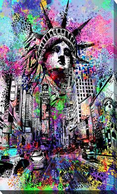 """Giclee Stretched Canvas Wall Art by Bekim Mehovic """"Time Square"""" – Picture Perfect Int. Graffiti Wall Art, Graffiti Drawing, Street Art Graffiti, Graffiti Painting, Graffiti Wallpaper Iphone, Pop Art Wallpaper, 8k Wallpaper, Statue Of Liberty Drawing, Toile Photo"""