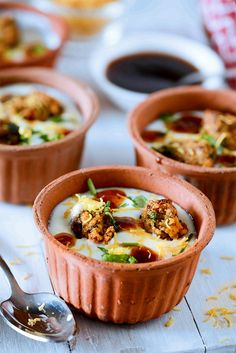 Dahi Pakodi Chaat :: Dahi Pakodi chaat is Indian spicy and tangy chaat in which dal ki pakodi is served soaked in seasoned curd with generous toppings of sweet and sour chutneys crunchy sev and other seasonings.