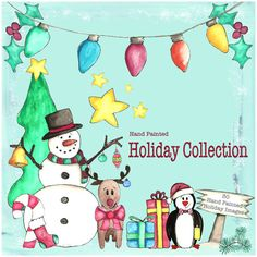 30 Hand Painted Holiday Images Instant by CreativelyHappyOne