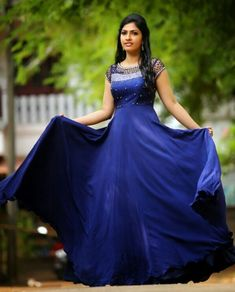Royal Blue Gown with Cutwork - Bridal Diaries Indian Gowns Dresses, Pakistani Bridal Dresses, Indian Fashion Dresses, Bridal Lehenga, Lehenga Choli, Party Wear Frocks, Gown Party Wear, Dress Neck Designs, Stylish Dress Designs