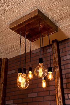 Mixed Bare Bulb Chandelier With Reclaimed Wood and by Bornagainwoodworks.etsy.com