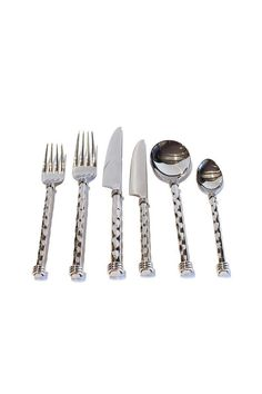 This stainless steel 6 piece place setting of flatware is dishwasher safe. Part of the Karen collection the handle of each piece including dinner fork salad fork dinner knife salad knife soup/cereal spoon and coffee spoon are hand hammered and work well with any style of dinnerware.  Stainless Flatware by Legacy. Home & Gifts - Home Decor - Dining - Flatware California