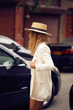 Boater hat.