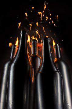 Oil factory   light painting, long exposure, fine art, still life, bottle, wine, fire, gas