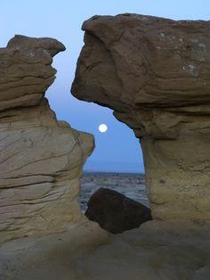 Super Moon Set in the Da-Na-Zin Wilderness Area, New Mexico