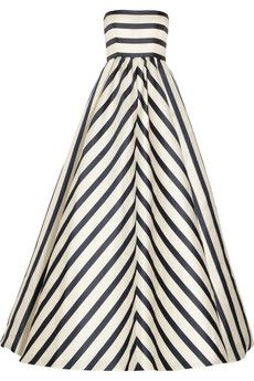 Use this Oscar de la Rentadress as an inspiration for a dress. Obviously it would need a whole different kind of top part with sleeves and all, but I like this idea of using horizontal stripes on the top and vertical/chevron stripes on the skirt part.