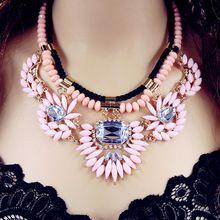 Luxo rosa Shourouk flor gota Layered gargantilha Collar falso colares declaração de nova 2016 mulheres moda jóias por atacado N227(China (Mainland))