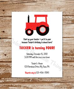 Printable Green Tractor Invitation Fill in the Blank Youre