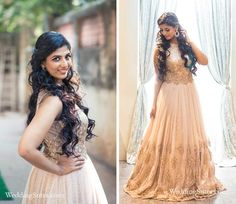 A beautiful nude net gown with gold sequence by Kalki Fashions for Priyanka Mathur at WeddingSutra on Location.