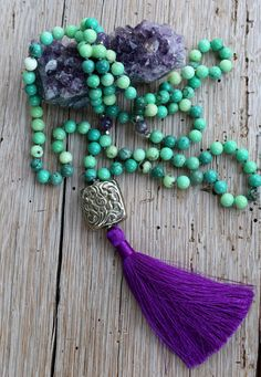 Chrysoprase Mala Beads Tibetan Silver bead by JivalaJewelryBohemian Boutique For The Boho Chic Beaded Tassel Necklace, Tassel Jewelry, Beaded Jewelry, Beaded Bracelets, Necklaces, Jewellery, Good Luck Necklace, Evil Eye Necklace, Colar Boho