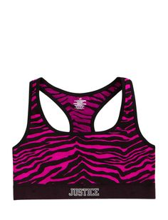 Girls Clothing | Sports Bras | Zebra Print Racerback Sports Bra | Shop Justice I WANT THIS THIS IS SO CUTE
