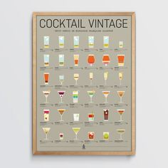 Affiche D'art Cocktail Vintage - Taille : TU Ti Punch, Cocktails Vintage, Calendar, Holiday Decor, Illustrations Posters, Human Height, Menu Calendar