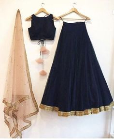 Navy blue silk lehenga choli set with a contrast embroidered peach dupatta. The lehenga choli is a c Indian Fashion Dresses, Indian Gowns Dresses, Dress Indian Style, Indian Designer Outfits, Pakistani Dresses, Fashion Outfits, Pakistani Sharara, Indian Bridesmaid Dresses, Bridesmaid Outfit