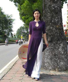 Details about Eggplant chiffon Vietnamese Ao Dai, Custom Made Dress, White Satin Pant Kurti Neck Designs, Kurti Designs Party Wear, Blouse Designs, Designer Kurtis, Designer Dresses, Indian Dresses, Indian Outfits, Pakistani Dresses, Vietnamese Dress