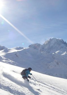 Powder skiing and sunshine, Chamonix with a great backdrop of the mountains