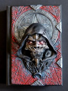 Demon in red polymer clay journal notebook fantasy by ClaymanPL