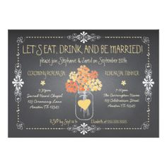Autumn Chalkboard Wedding Rehearsal Mason Jar 5x7 Paper Invitation Card