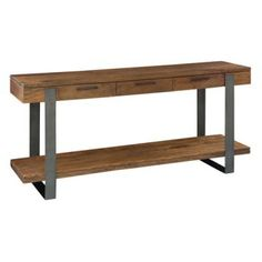 A mix of timeless materials gives the Hekman Bedford Park 3 Drawer Sofa Table its industrial chic appeal. This sofa table features a top and base shelf. Skinny Console Table, Narrow Console Table, Entryway Tables, Wood Sofa Table, Sofa Tables, Consoles, Bedford Park, Walnut Table, Walnut Slab